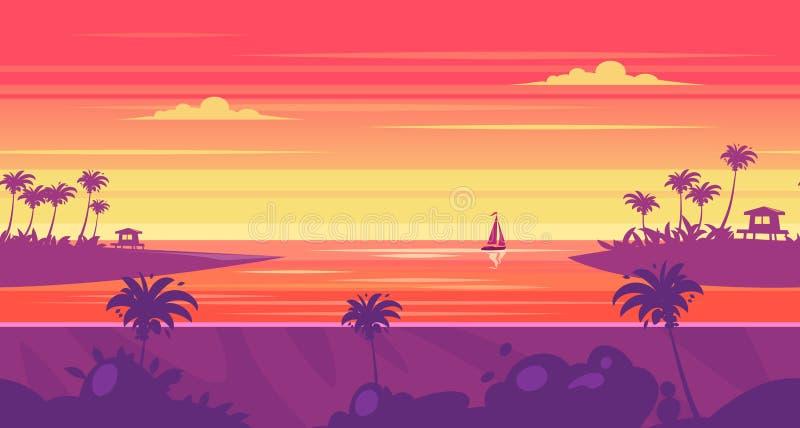 Paesaggio senza cuciture della natura del fumetto con il mare e la palma illustrazione vettoriale