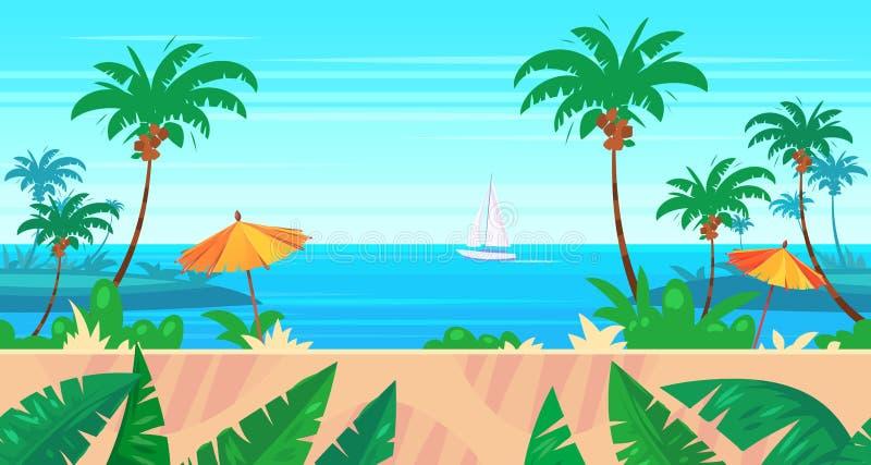 Paesaggio senza cuciture della natura del fumetto con il mare e la palma illustrazione di stock