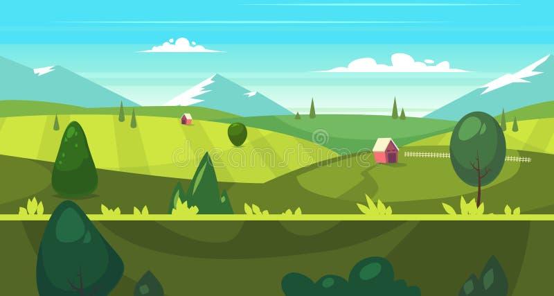 Paesaggio senza cuciture della natura del fumetto con le case illustrazione di stock