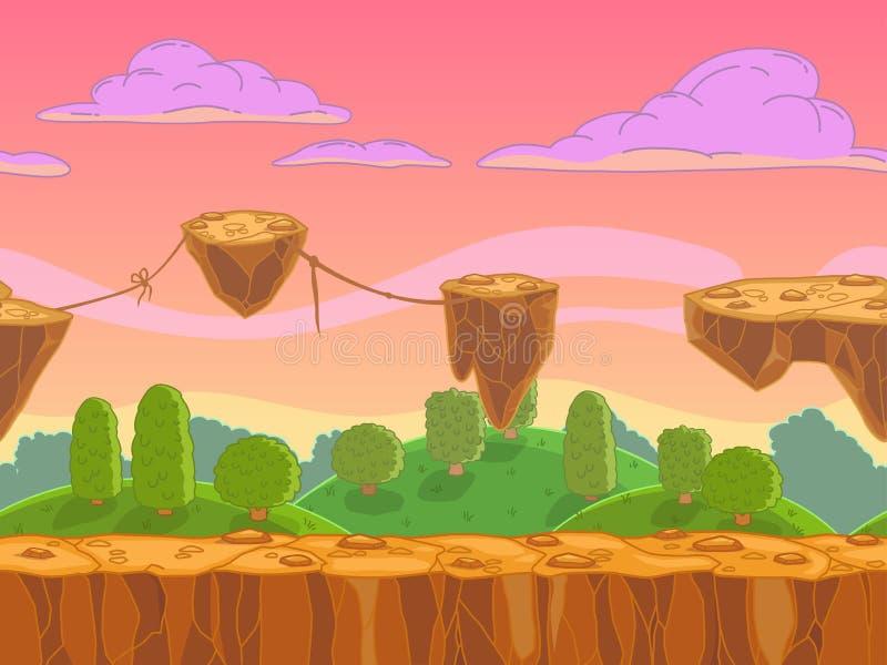 Paesaggio senza cuciture di fantasia del fumetto illustrazione di stock