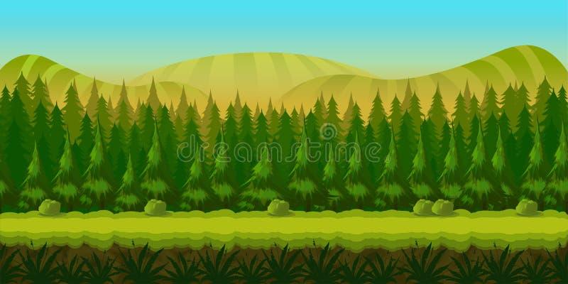 Paesaggio senza cuciture di fantasia, fondo del gioco di vettore con gli strati separati per effetto di parallasse illustrazione di stock