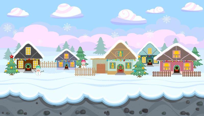 Paesaggio senza cuciture di inverno con le case per le vacanze per progettazione del gioco di Natale illustrazione di stock