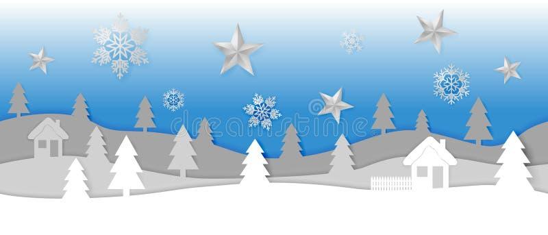 Paesaggio senza cuciture semplice di vettore di inverno del taglio della carta con i fiocchi di neve, le stelle, le colline strat illustrazione di stock