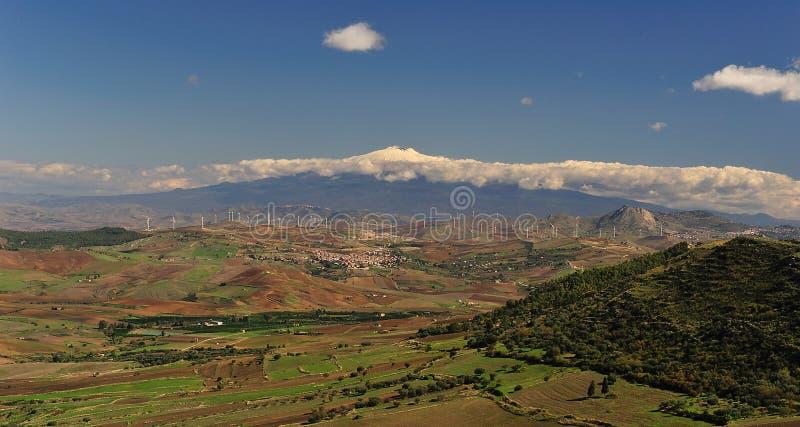 Paesaggio siciliano dell'Etna fotografia stock libera da diritti