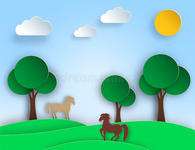 Paesaggio soleggiato con gli alberi, prato, cavallo della natura nello stile di carta di arte Progettazione della cartolina d'aug royalty illustrazione gratis