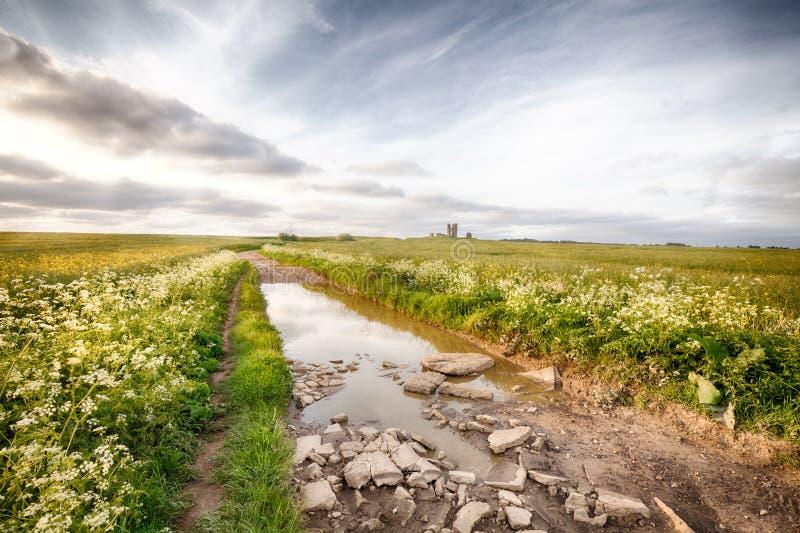 Paesaggio sommerso della strada che conduce alla rovina antica immagine stock