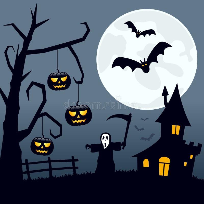 Paesaggio spaventoso di Halloween illustrazione vettoriale