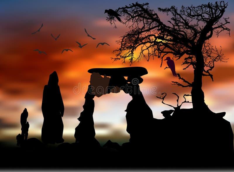 Paesaggio spaventoso di Halloween con le siluette dell'albero, degli uccelli e del portone di pietra illustrazione vettoriale