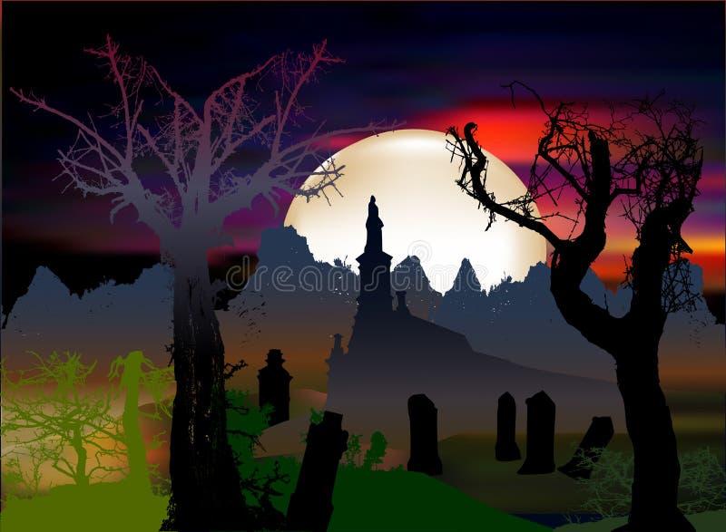 Paesaggio spaventoso scuro di Halloween con la cappella, le pietre tombali e le siluette degli alberi illustrazione di stock
