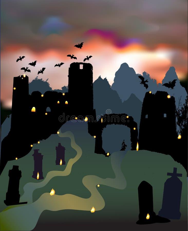 Paesaggio spaventoso scuro di Halloween con le rovine del castello, del portone, del cimitero, dei pipistrelli e del cielo dramma royalty illustrazione gratis