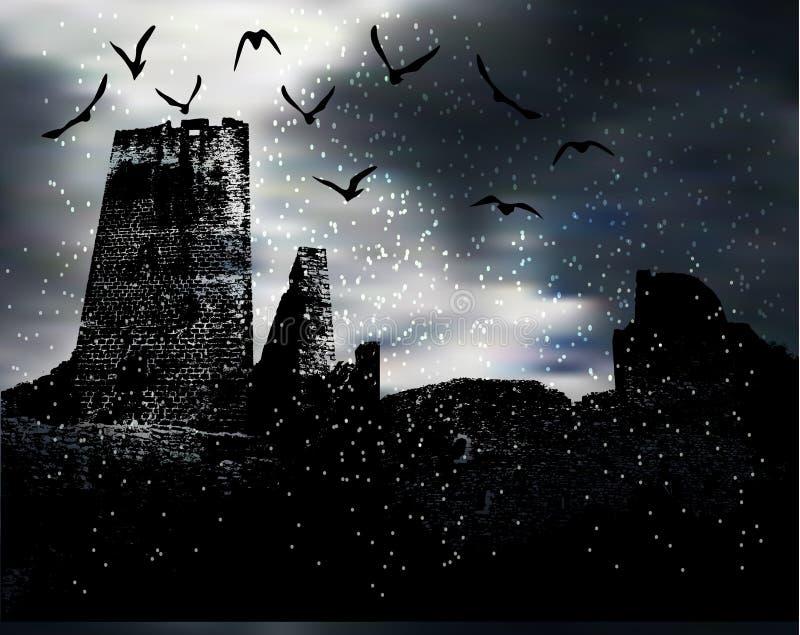 Paesaggio spaventoso scuro di inverno con la siluetta del castello, degli uccelli e della neve illustrazione di stock