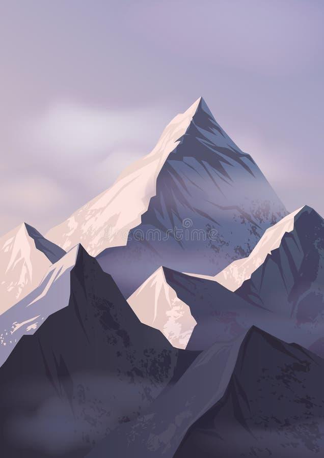 Paesaggio spettacolare con le creste o le scelte di montagna coperte di neve e protette dai bei supporti o rocce della foschia royalty illustrazione gratis