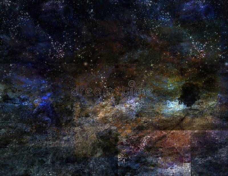 Paesaggio stellato di notte illustrazione di stock