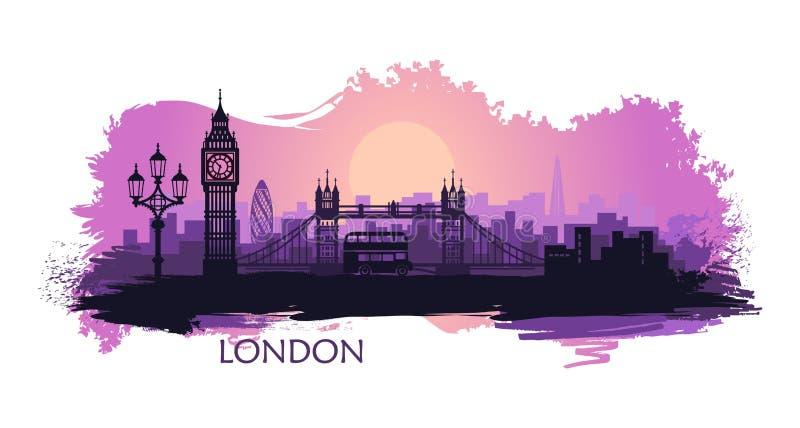 Paesaggio stilizzato di Londra con il Big Ben, il ponte della torre ed altre attrazioni royalty illustrazione gratis