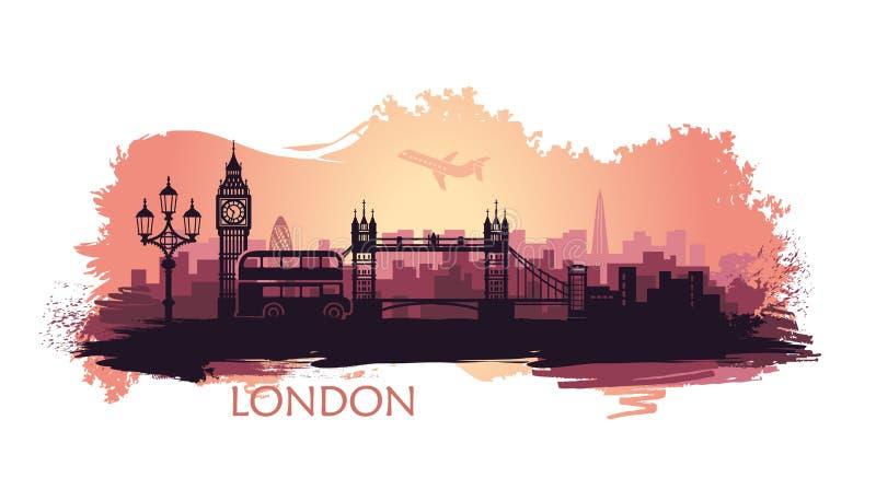 Paesaggio stilizzato di Londra con il Big Ben, il ponte della torre ed altre attrazioni illustrazione vettoriale