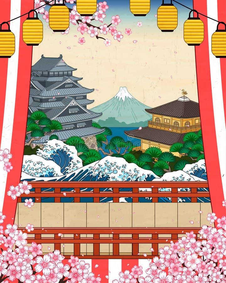 Paesaggio storico giapponese illustrazione di stock