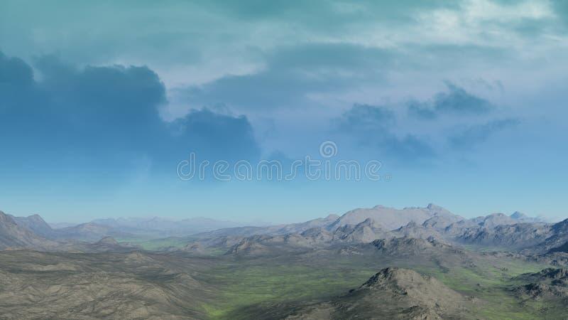 Paesaggio straniero del deserto 3D ha reso il materiale illustrativo royalty illustrazione gratis