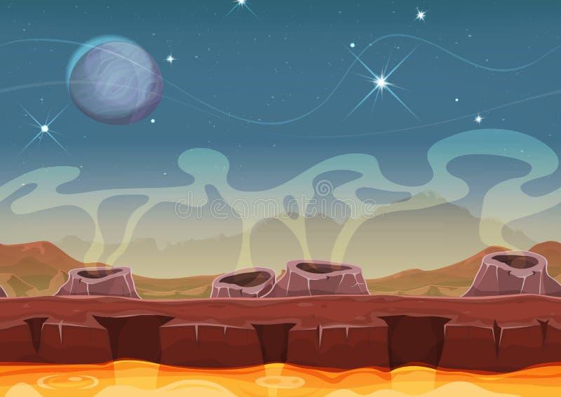 Paesaggio straniero del deserto del pianeta di fantasia per il gioco di Ui illustrazione vettoriale