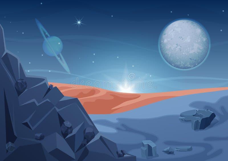 Paesaggio straniero di mistero di fantasia, un'altra natura del pianeta con le rocce e pianeti in cielo Spazio della galassia di  illustrazione di stock