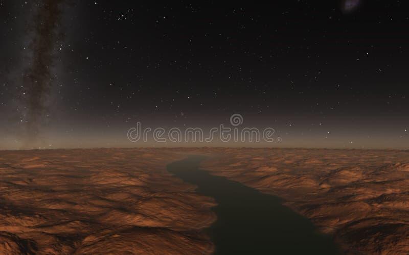 Paesaggio straniero, pianeta fantastico illustrazione vettoriale