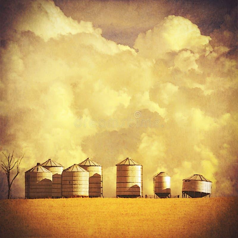 Paesaggio strutturato d'annata dell'azienda agricola di estate illustrazione di stock