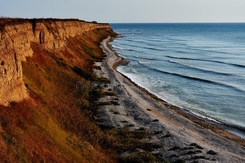 Paesaggio stupefacente della natura di autunno alla spiaggia di Tuzla, Romania immagini stock libere da diritti