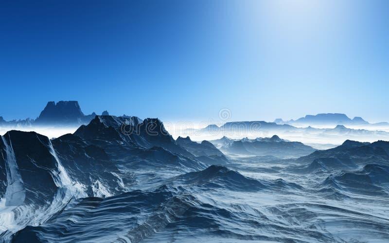 paesaggio surreale 3D con le montagne nevose illustrazione di stock