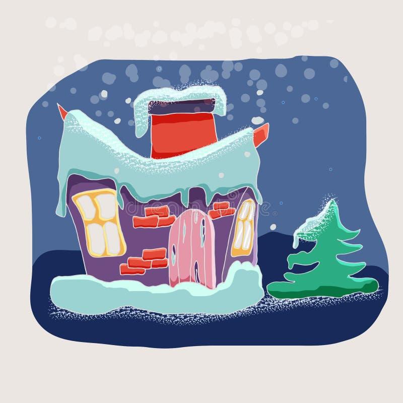 Paesaggio sveglio del fumetto di inverno di vettore con la piccola casa divertente nella neve fra gli alberi di Natale Può essere illustrazione vettoriale