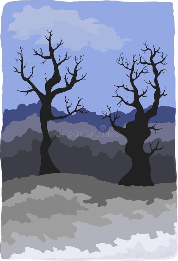 Paesaggio tenebroso di inverno royalty illustrazione gratis