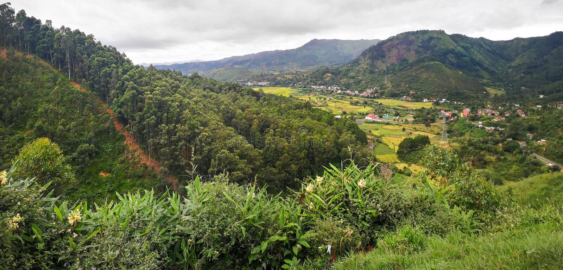 Paesaggio tipico del Madagascar alla regione di Mandraka Colline coperte di fogliame verde, piccoli villaggi nella distanza, sopr fotografia stock libera da diritti