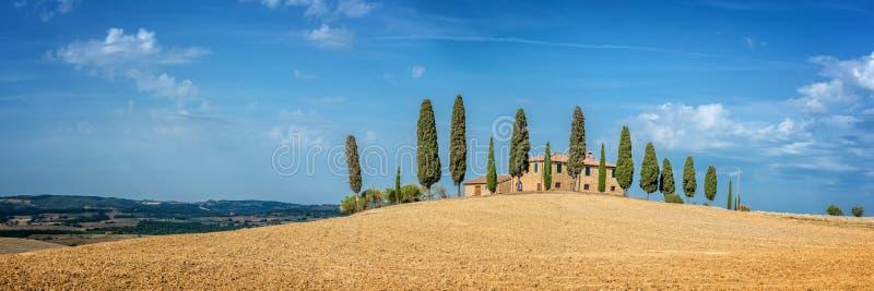 Paesaggio tipico di un'azienda agricola con una fila degli alberi di cipresso in Toscana Italia immagini stock libere da diritti