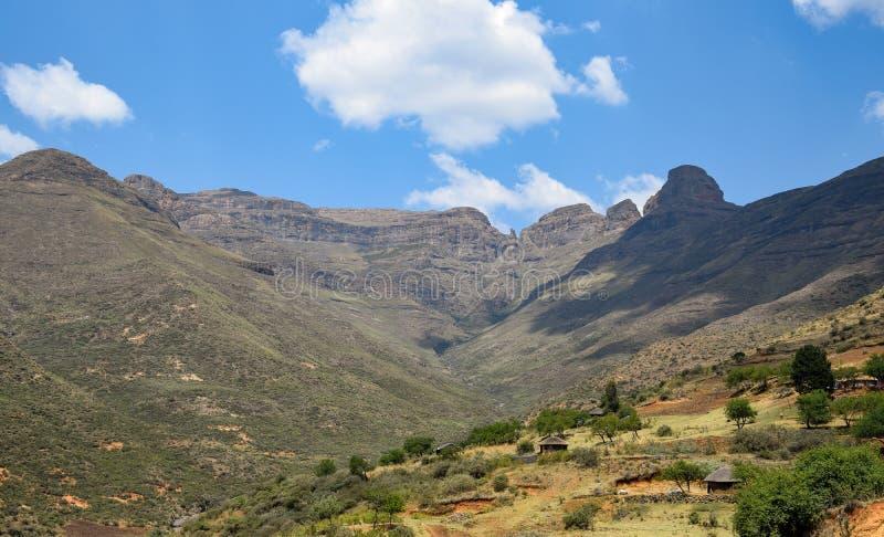 Paesaggio tipico nel Lesotho fotografia stock