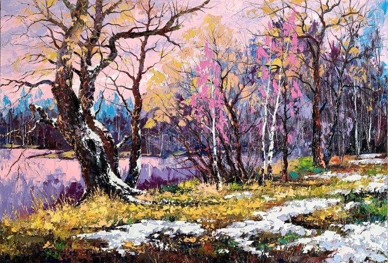 Paesaggio triste di autunno sulla banca del lago illustrazione di stock