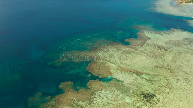 Paesaggio tropicale con il mare blu e la barriera corallina fotografie stock