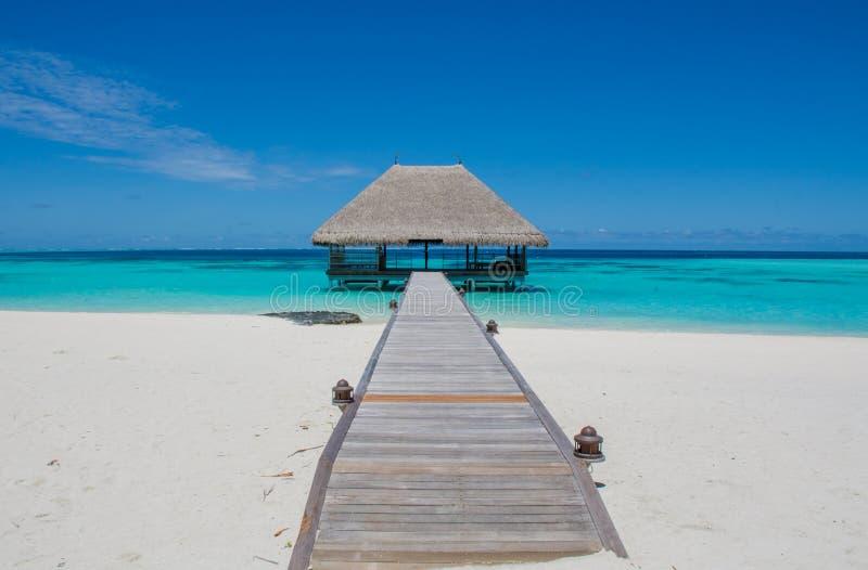 Paesaggio tropicale con il ponte di legno e capanna sull'acqua alle Maldive immagini stock libere da diritti