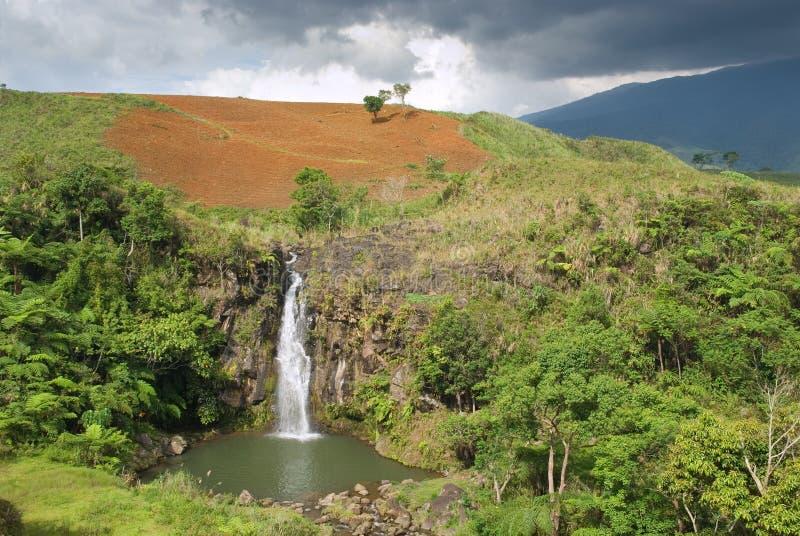 Paesaggio tropicale con la cascata fotografia stock
