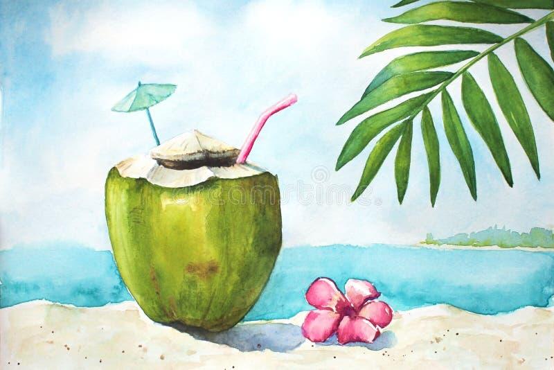 Paesaggio tropicale dell'acquerello con la noce di cocco illustrazione di stock