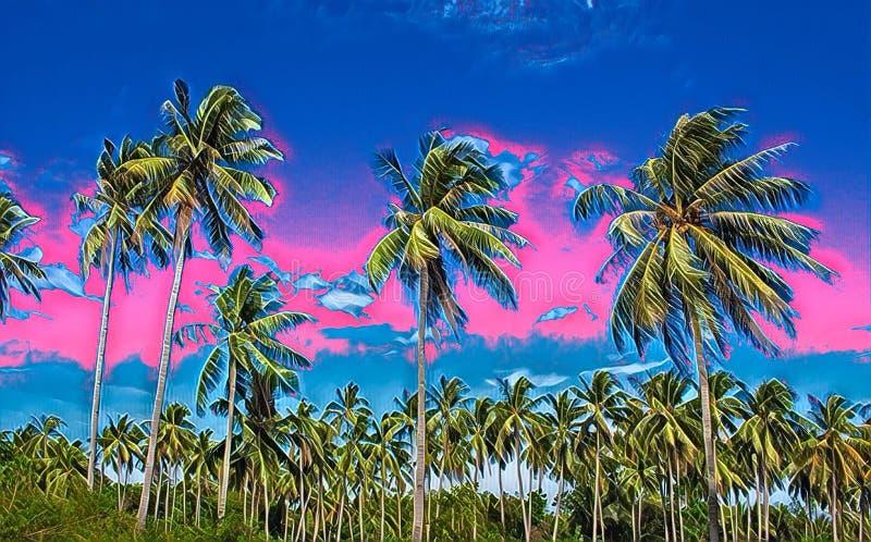 Paesaggio tropicale di tramonto con le palme Pittura digitale dell'isola esotica royalty illustrazione gratis