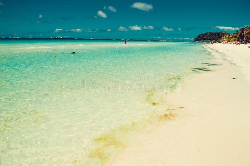 Paesaggio tropicale esotico della spiaggia Acqua cristallina bassa trasparente Destinazione di corsa Vacanza del lusso di estate  immagine stock libera da diritti