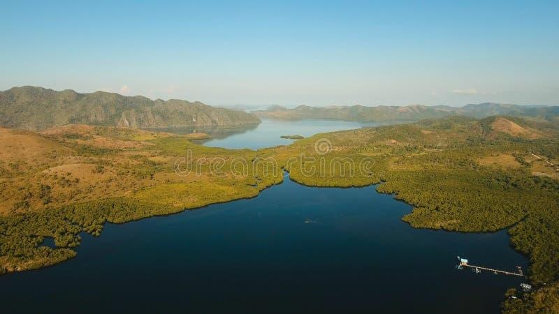 Paesaggio tropicale, montagne, foresta, baia Busuanga, Palawan, Filippine fotografia stock