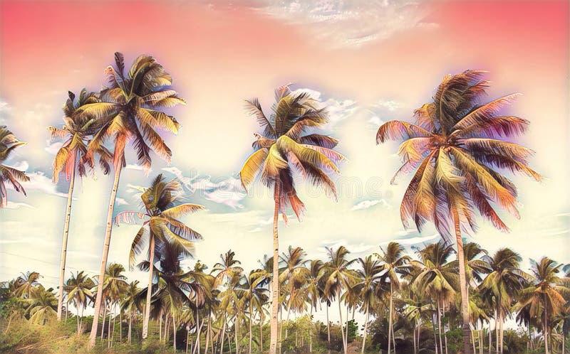 Paesaggio tropicale rosa con le palme Pittura digitale dell'isola esotica illustrazione vettoriale