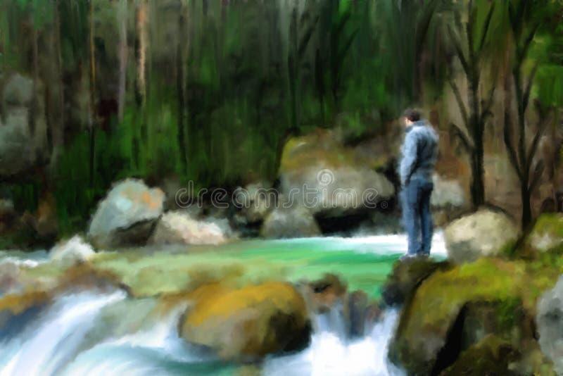 paesaggio: uomo al fiume in foresta profonda immagine stock