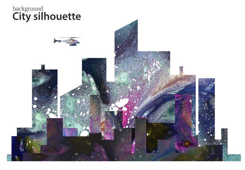 Paesaggio urbano in acquerello cityscape Anche il paesaggio della città in uno stile piano illustrazione vettoriale