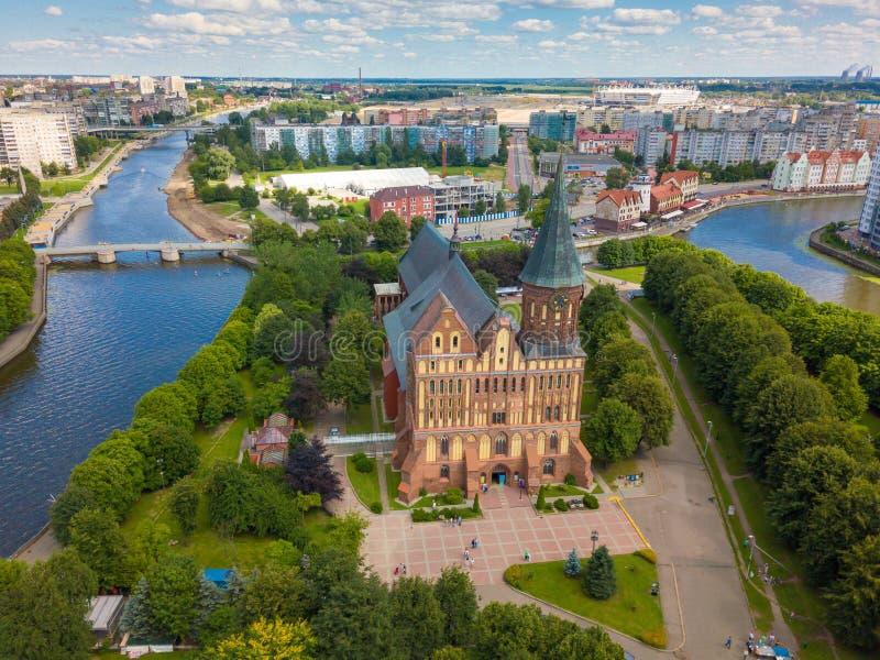 Paesaggio urbano aereo di Kant Island a Kaliningrad, Russia fotografie stock