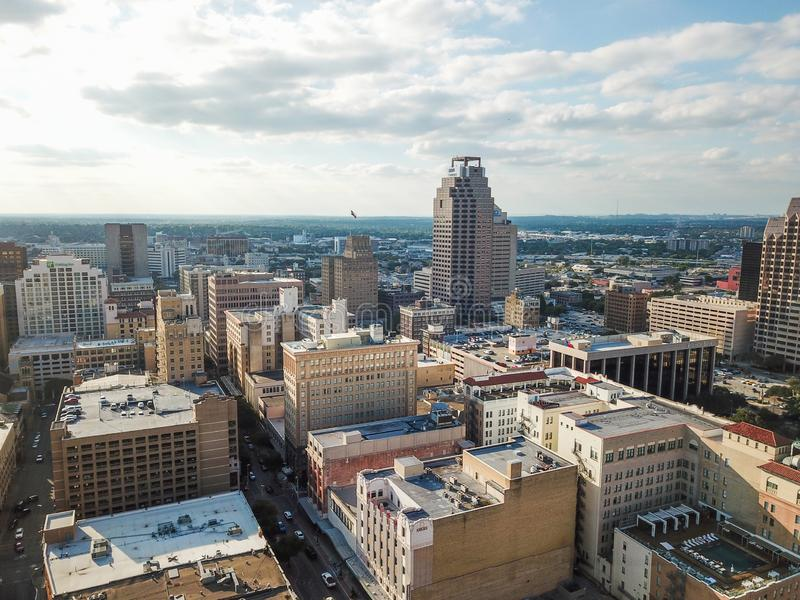 Paesaggio urbano aereo di San Antonio del centro, Texas Facing Towards E immagini stock