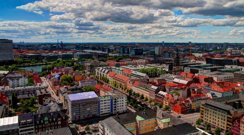 Paesaggio urbano aereo panoramico della città di Copenhaghen, Danimarca immagini stock libere da diritti