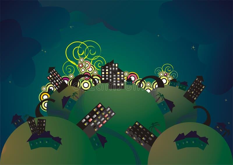 Paesaggio urbano alla notte illustrazione di stock