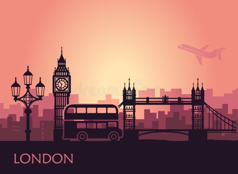 Paesaggio urbano astratto di Londra con le viste al tramonto illustrazione di stock