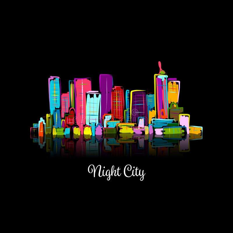Paesaggio urbano astratto di notte, schizzo per la vostra progettazione illustrazione di stock