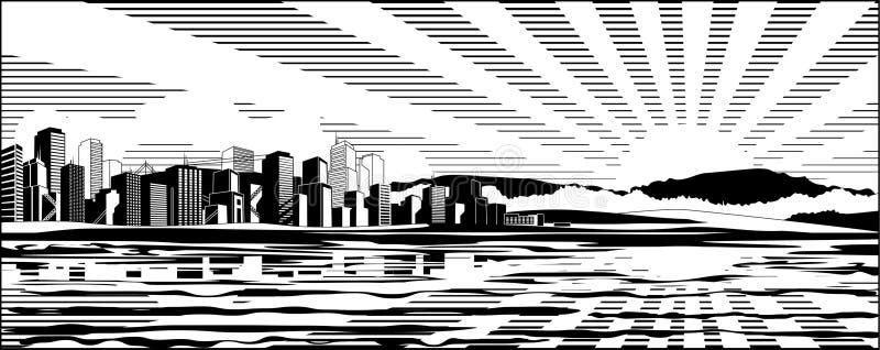 Paesaggio urbano in bianco e nero royalty illustrazione gratis